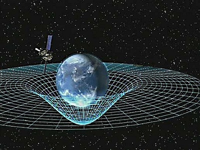 Artist's depiction of Earth curving space according to Einstein's theory of General Relativity while satellite GPB orbits