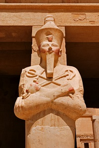 Hatshepsut - one of the rare female pharaohs of Egypt - as the Egyptian god of the dead Osiris.